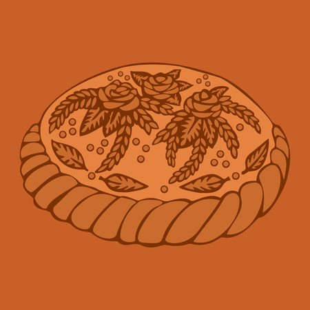 slavic: Round Loaf Karavai, traditional slavic russian and ukrainian festivals and weddings bread illustration. Russian cuisine