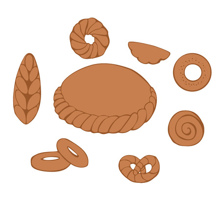 russian cuisine: Doodle set of traditional Russian sweet bakery vector Illustration