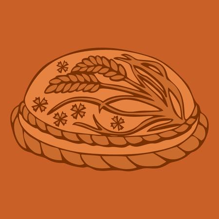 russian cuisine: Round Loaf Karavai, traditional slavic russian and ukrainian festivals and weddings bread illustration. Russian cuisine