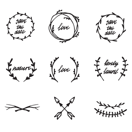 retro circles: Hand drawn illustration. Vintage decorative lovely set of laurels, branches and wreaths. Doodle greek ancient  wreath, text dividers and borders with laurel leaves, decorative design elements