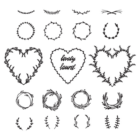 heart shaped leaves: Hand drawn vector illustration. Vintage decorative lovely set of laurels, branches and wreaths. Doodle greek ancient  wreath, text dividers and borders with laurel leaves, decorative design elements