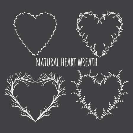heart shaped leaves: Hand drawn vector illustration. Vintage decorative lovely laurels and heart shaped wreaths. decorative design elements