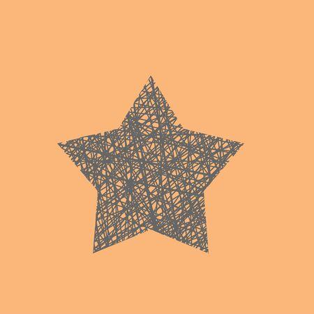 Doodle illustration of handmade wicker star, outline wireframe star decoration Illustration