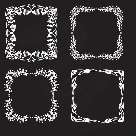 design icon: Vintage flower rustic design elements doodle frames