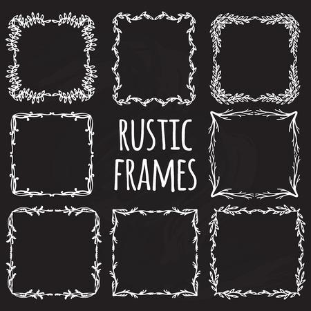 Elementos de diseño rústico de la vendimia de la flor del doodle de los marcos Foto de archivo - 49148961