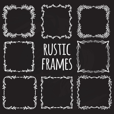 calligraphic design: Vintage flower rustic design elements doodle frames