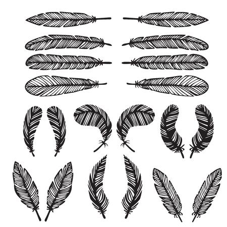 hipster feather elements, vintage doodle outline feather vector Illustration