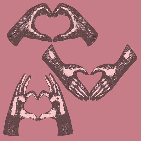 dedo meÑique: Manos gesto, la mano en forma de corazón, muestra del corazón de los dedos, el amor simbol Vectores