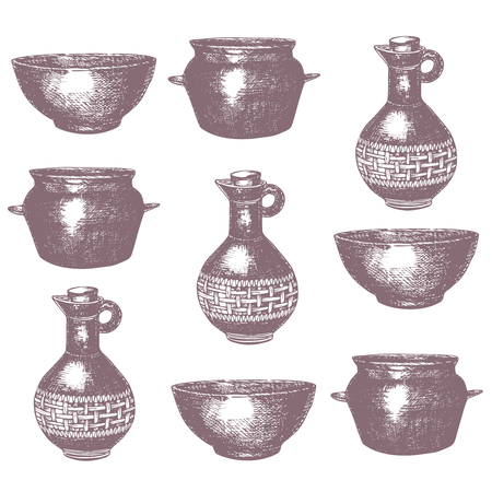 pans: Empty hand drawn cooking dishes, pots, bottle and pans