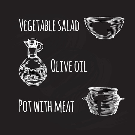 pans: Empty hand drawn cooking dishes, pots, bottle and pans on chalkboard Illustration