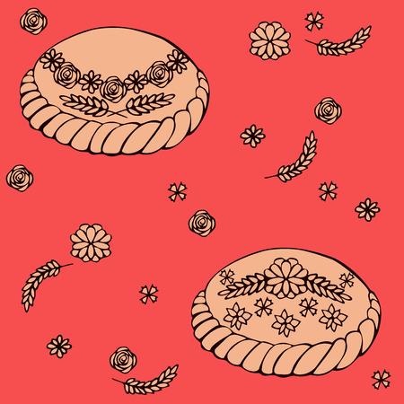 russian cuisine: Round Loaf Karavai, traditional slavic russian and ukrainian festivals and weddings bread vector illustration. Russian cuisine
