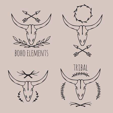 hand drawn cow scull, tribal boho elements