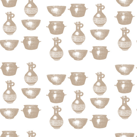 pans: Empty hand drawn cooking dishes, pots, bottle and pans, seamless pattern Illustration