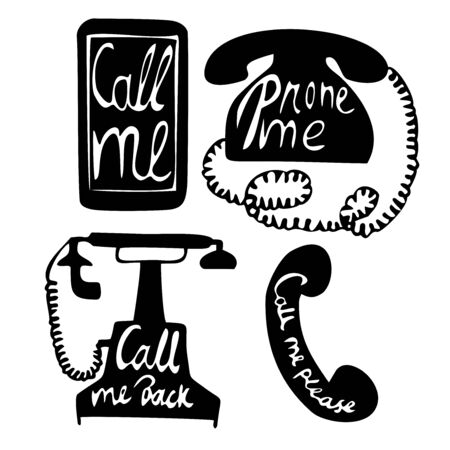 calling on phone: smartphone, phone modern and retro illustration with calligraphy about calling Illustration