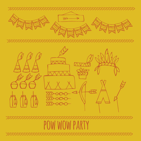 wow: doodle pow wow party, Tribal indian party ideas, teepee party Illustration