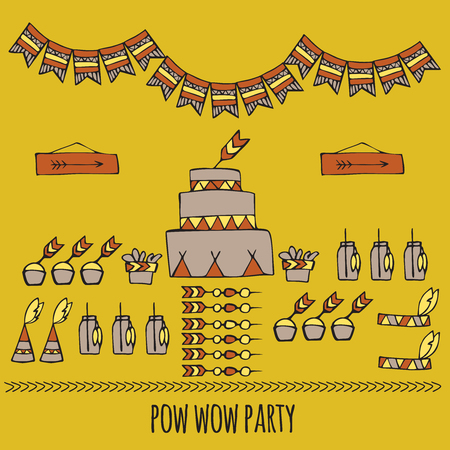 teepee: doodle pow wow party, Tribal indian party ideas, teepee party Illustration