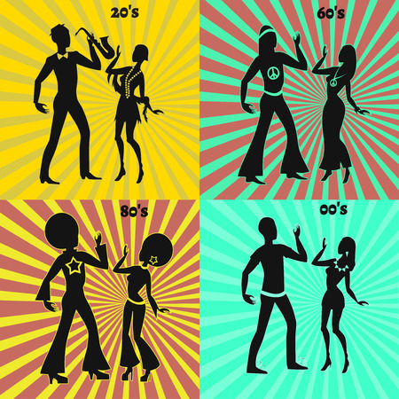 seventies: Retro and modern dancing couple, two disco dancers, illustration of seventies retro look, two jazz dancers, illustration of twenties retro look, two hippie dancers, illustration of sixties retro look, two modern dancers,