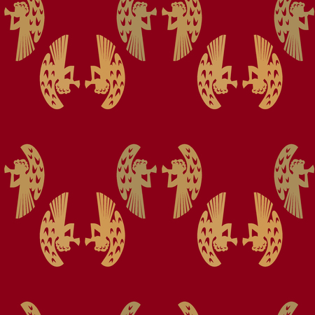 classical mythology character: holy christmas angel with trumpet seamless pattern