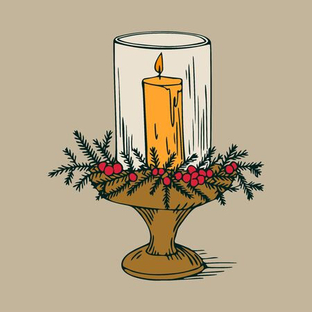 candlestick: Beautiful christmas candlestick, vintage new years decoration Illustration