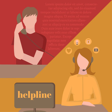 helpline: Support service, female call center avatar icons with a faceless man with phone and woman wearing headsets, client services helpline