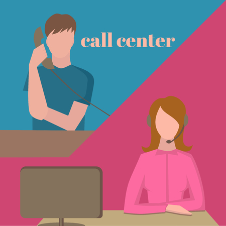 handsfree: Support service, female call center avatar icons with a faceless man with phone and woman wearing headsets, client services helpline