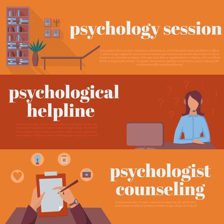 sicologia: oficina psicólogo para el asesoramiento, línea de ayuda de la psicoterapia en línea, la sesión psicológica Vectores