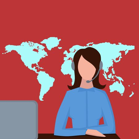 call center female: Support service, female call center avatar icons with a faceless woman wearing headsets, client services helpline with world map
