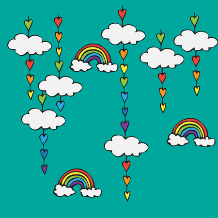 rainbow sky: symbol of rainbow and clouds in the sky, rainbow decoration with heart shaped drops