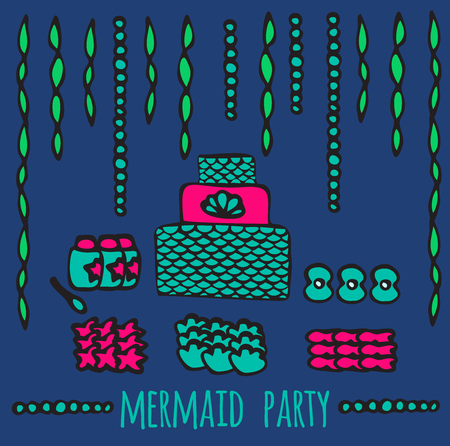 festival scales: mermaid party elements, underwater kids party decoration and food ideas, Illustration