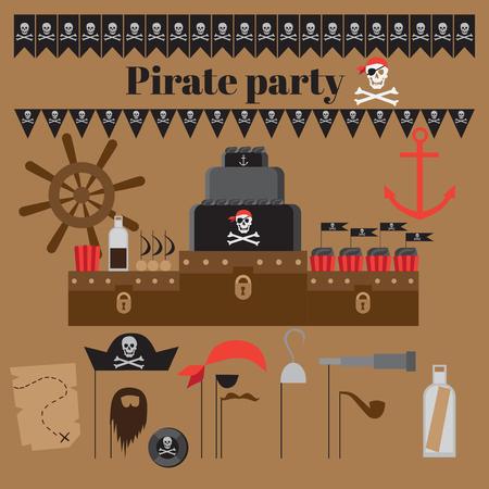 celebration party: Pirate party ideas, nautical design elements for celebration Illustration