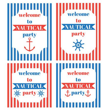 vintage nautical party invitation marine sailor elements royalty