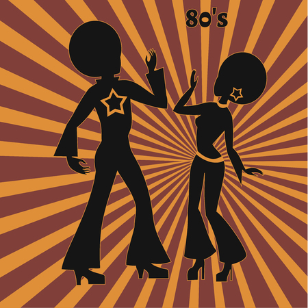 the seventies: two disco dancers, illustration of seventies retro look Illustration