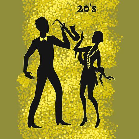 twenties: two jazz dancers, illustration of twenties retro look