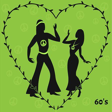 mujer hippie: dos bailarines hippie, ilustración de sesenta Retro Look