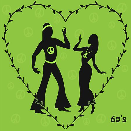 hippie: two hippie dancers, illustration of sixties retro look