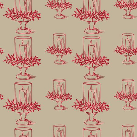candlestick: Beautiful christmas candlestick, vintage new years decoration Illustration