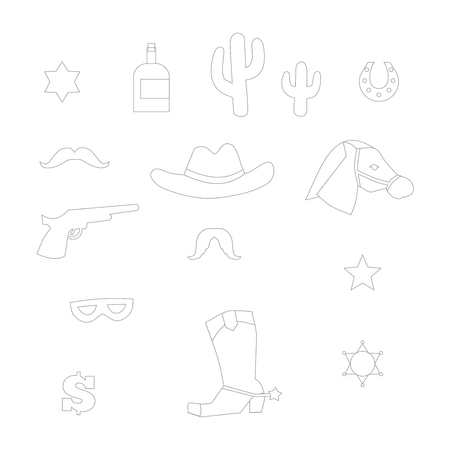 western theme: outline set of vintage western cowboy icons