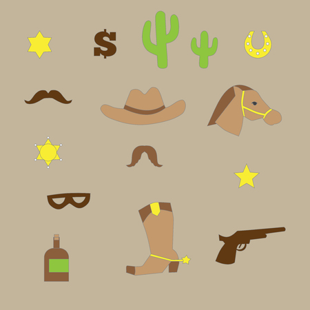 rodeo cowboy: outline set of vintage western cowboy icons