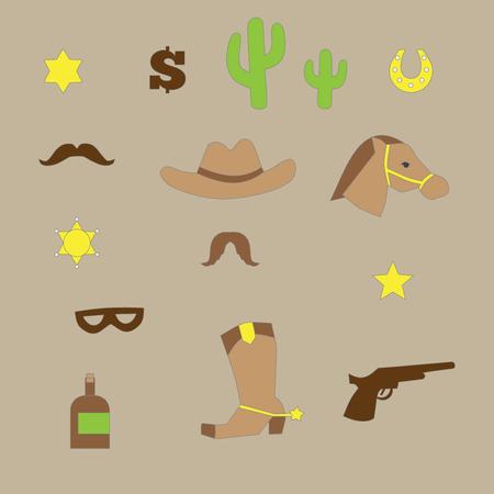 cowboy horse: outline set of vintage western cowboy icons