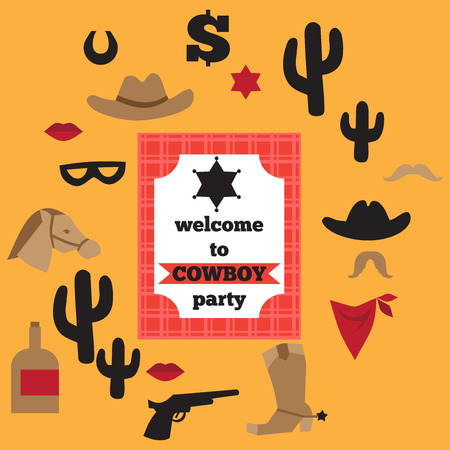 rodeo cowboy: Printable set of vintage cowboy party elements. Templates, labels, icons and wraps