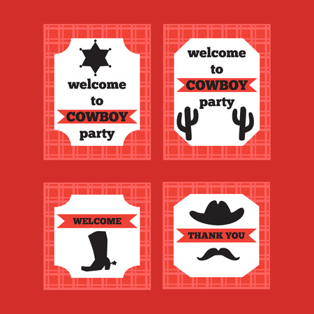 poster template: Printable set of vintage cowboy party elements. Templates, labels, icons and wraps