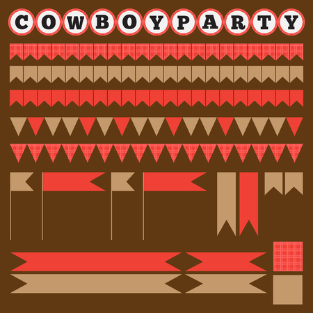 printable: Printable set of vintage cowboy party elements. Templates, labels, icons and wraps
