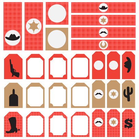 bandana western: Printable set of vintage cowboy party elements. Templates, labels, icons and wraps