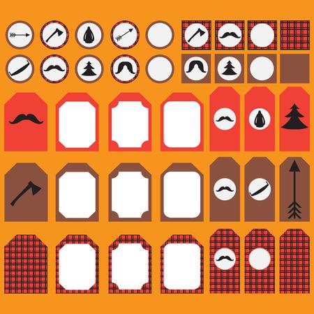 Printable reeks uitstekende Lumberjack partij elementen. Sjablonen, labels, pictogrammen en wraps. Trendy Hipster Buffalo Check, Tartan en Gingham Patronen.