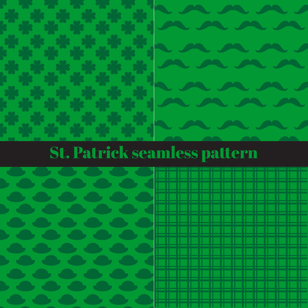 st patrick s day: Green Set of St. Patrick s Day Seamless Patterns with Checkered Stripes, Hats, Mustaches and Clover Illustration