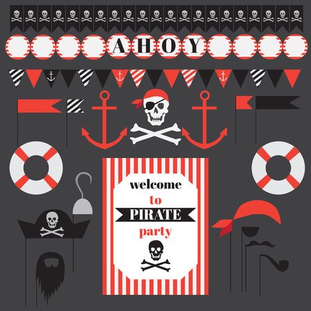 printable: Printable set of vintage pirate party elements. Templates, labels, icons and wraps