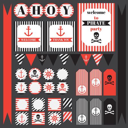 marinero: conjunto de elementos para imprimir partido del pirata de la vendimia. Plantillas, etiquetas, iconos y envolturas Vectores