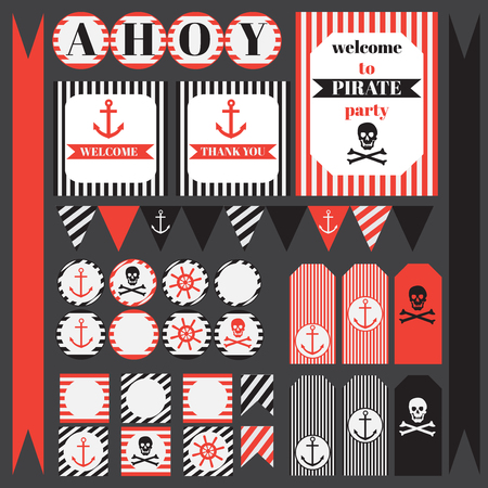sailor: Printable set of vintage pirate party elements. Templates, labels, icons and wraps