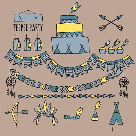 wow: pow wow doodle del partido, ideas de la fiesta tribal del indio, partido tipi Vectores