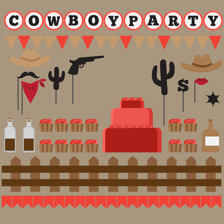 western theme: Printable set of vintage cowboy party elements. Templates, labels, icons and wraps